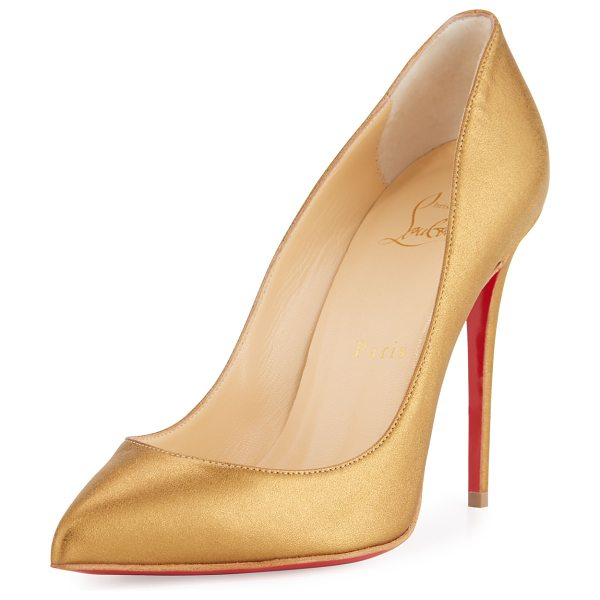 "Christian Louboutin Pigalle Follies Leather 100mm Red Sole Pump in bronze - Christian Louboutin metallic napa leather pump. 4""..."