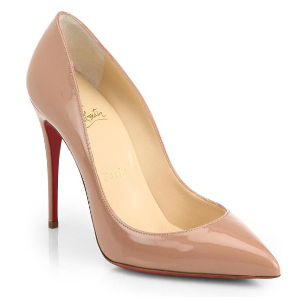 Christian Louboutin pigalle follies 100 patent leather pumps in nude - Quintessential signature pump in glossy Italian leather....