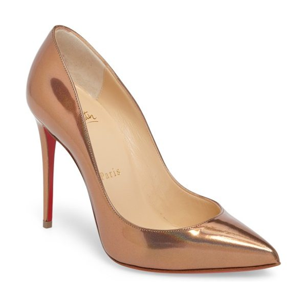 Christian Louboutin 'pigalle follies' pointy toe pump in metallic gold patent - A go-to style that's anything but basic, this glossy...