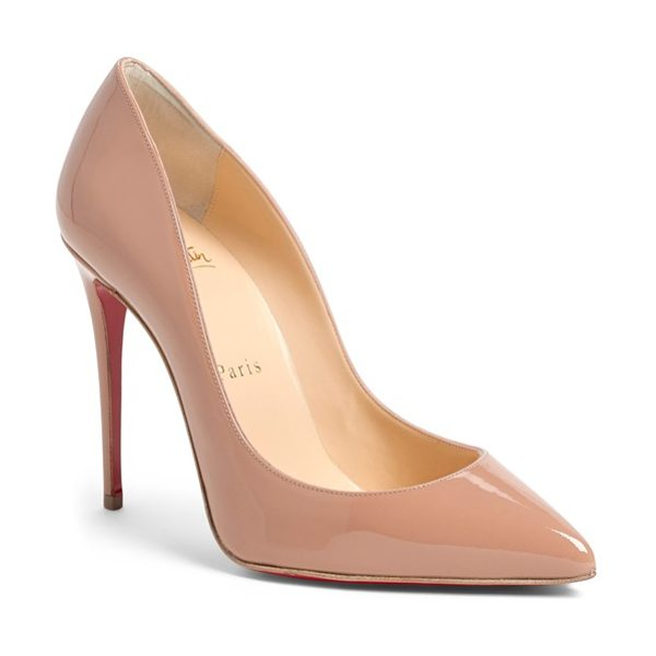 Christian Louboutin pigalle follies pointy toe pump in nude patent - A go-to style that's anything but basic, this glossy...