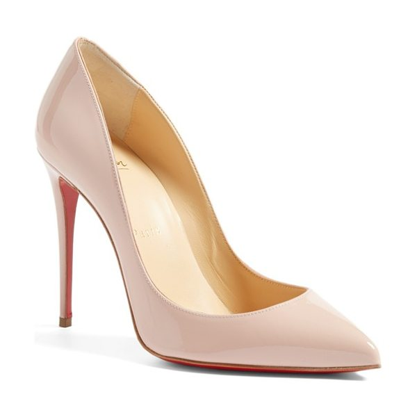 Christian Louboutin 'pigalle follies' pointy toe pump in pink patent - A go-to style that's anything but basic, this glossy...