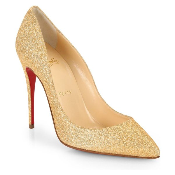 Christian Louboutin Pigalle glitter pumps in gold - A timeless style enlivened with allover glitter for a...