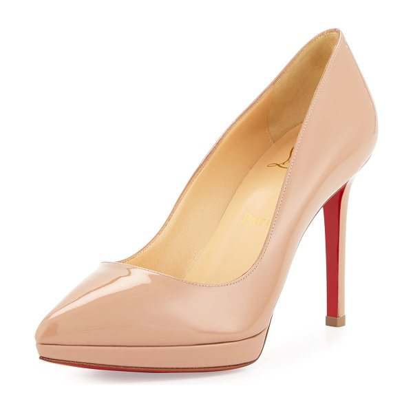 "Christian Louboutin Pigalle plato patent red sole pump in nude - Christian Louboutin patent leather pump. 4"" covered..."