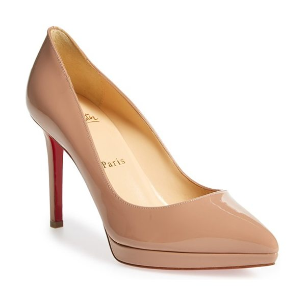 Christian Louboutin pigalle plato pointy toe platform pump in nude patent