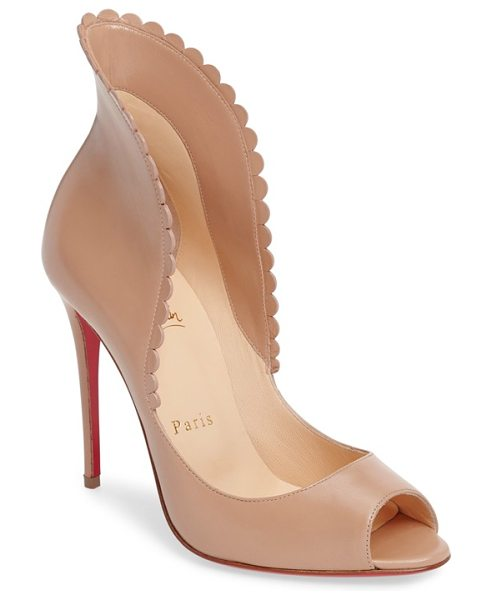 Christian Louboutin pijonina flared collar pump in nude leather - Christian Louboutin's iconic sole-born from a fateful...