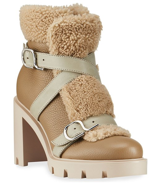 Christian Louboutin Pole Chic Shearling Red Sole Combat Booties in champagne