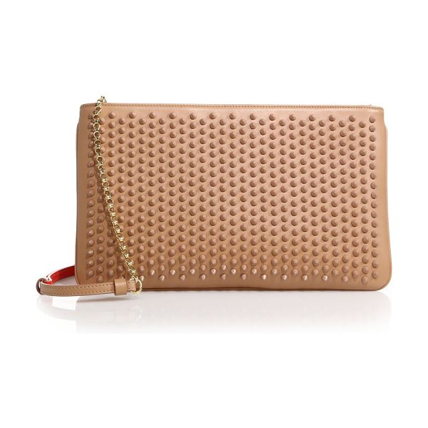Christian Louboutin loubiposh studded leather clutch in nude - Streamlined clutch cast with shimmering stud detail....