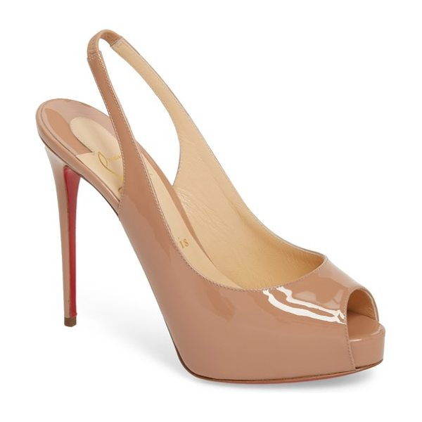 Christian Louboutin private number peep toe pump in beige