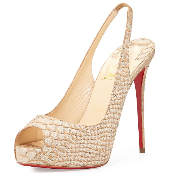 "CHRISTIAN LOUBOUTIN Private number python-embossed red sole pump - Christian Louboutin snake-printed fabric pump. 5"" heel;..."