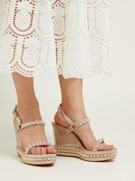 Christian Louboutin pyradiams 110 studded cork wedge sandals in silver gold