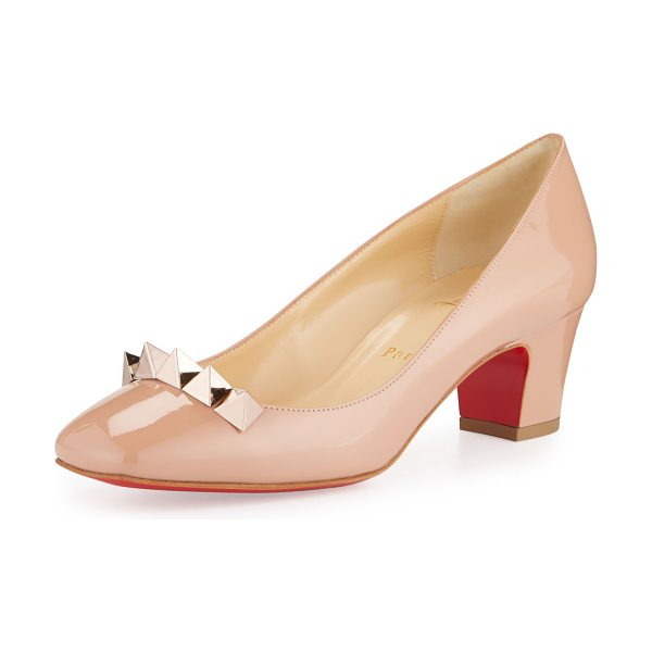 """Christian Louboutin Pyramidame Block-Heel Red Sole Pump in nude/gold rose - Christian Louboutin patent leather pump. 2"""" covered..."""