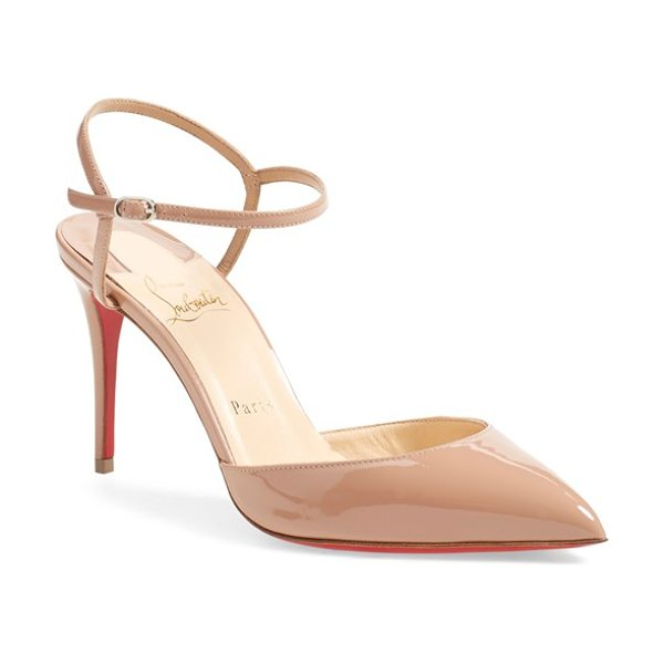 Christian Louboutin rivierina ankle strap pump in nude patent - A look that's anything but basic, the Rivierina pump...