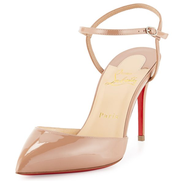 "Christian Louboutin Rivierina patent ankle-wrap red sole pump in nude - Christian Louboutin patent leather d'Orsay pump. 3. 5""..."