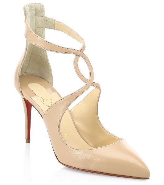 Christian Louboutin rosas 85 leather pumps in nude - Crossover ankle strap pumps with signature red soles....