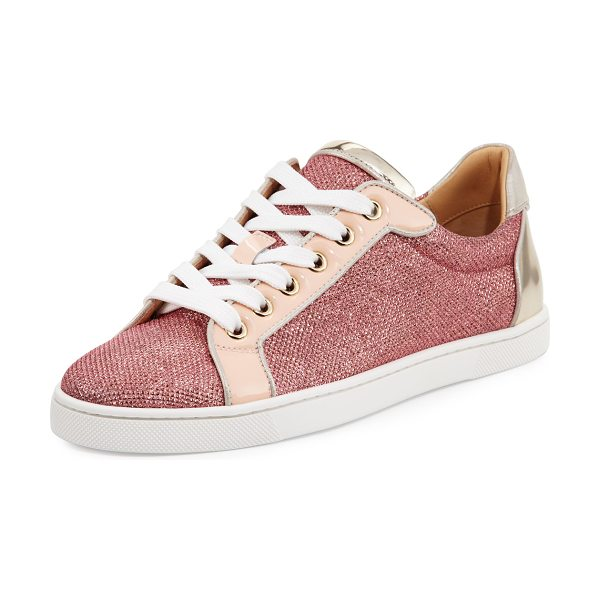 Christian Louboutin Seava Woman Glitter Red Sole Low-Top Sneaker in version poudre - Christian Louboutin glitter fabric sneaker. Patent...