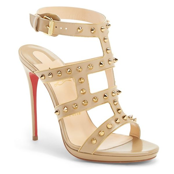 CHRISTIAN LOUBOUTIN sexy strapi studded ankle strap sandal - Tiny metallic chains trace the graphic construction of a...