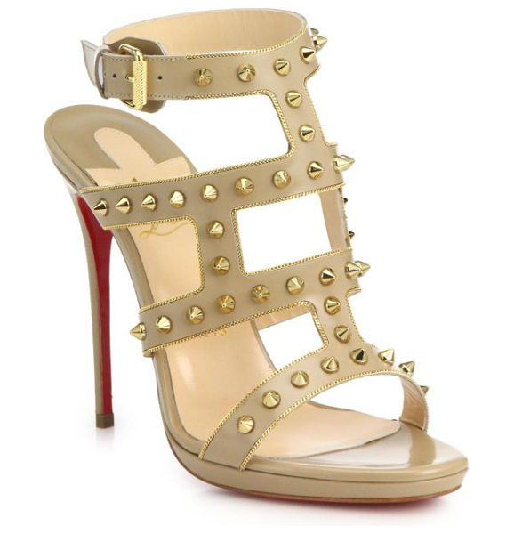 Christian Louboutin Sexystrapi studded & chain-trimmed leather sandals in beige - Gilded spike studs and chain trim inject these tall...