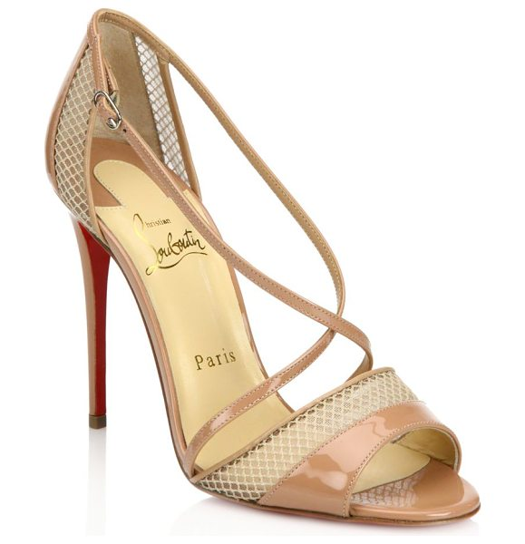 Christian Louboutin silkova 100 patent leather & mesh sandals in nude