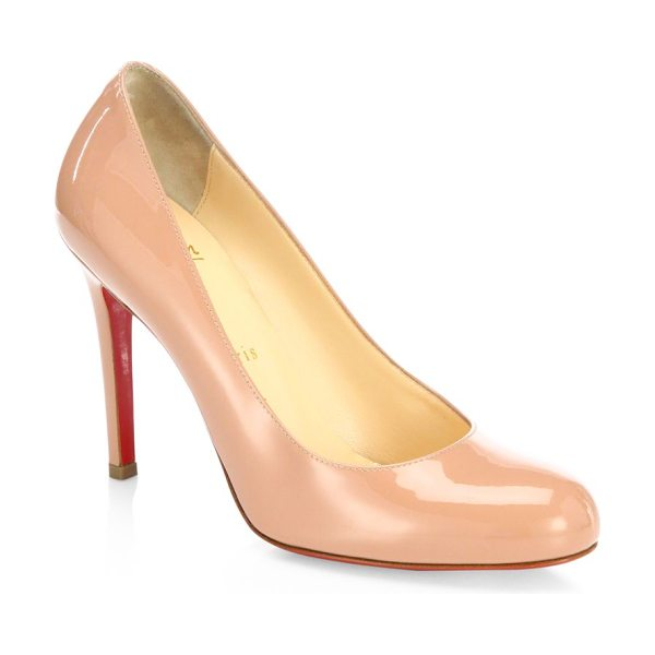 Christian Louboutin simple 100 patent leather pumps in nude - Timeless round-toe pump in glossy patent leather....