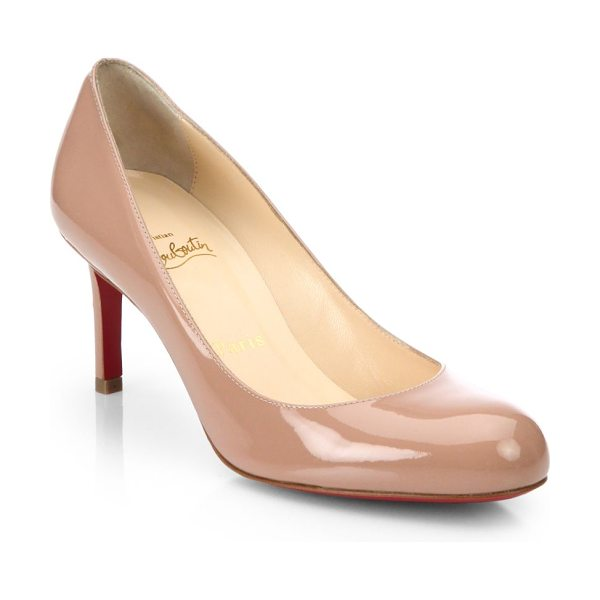 Christian Louboutin simple 70 patent leather pumps in nude - Timeless round-toe silhouette in gleaming finish....