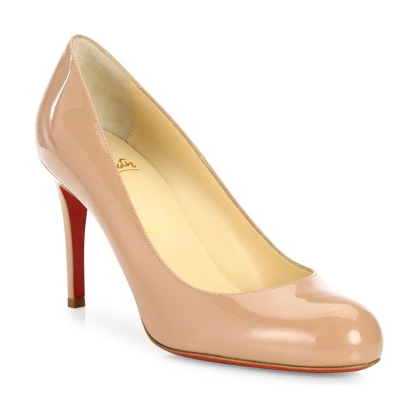 Christian Louboutin simple 85 patent leather pumps in nude - Timeless round-toe silhouette in patent leather....