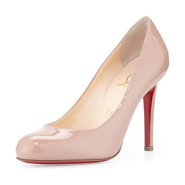 Christian Louboutin Simple patent red sole pump in nude - Christian Louboutin patent leather pump. Round toe;...