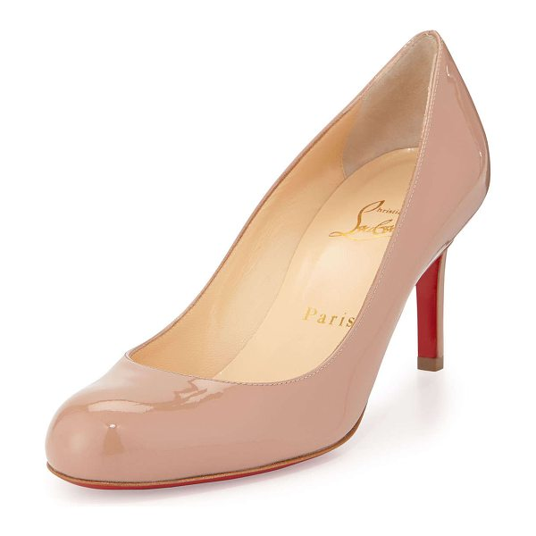 "Christian Louboutin Simple Patent Red Sole Pump in nude - Christian Louboutin patent leather pump. 2.8"" covered..."