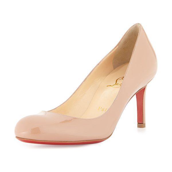 Christian Louboutin Simple Patent Red Sole Pump in beige - Patent leather upper. Round toe. Creamy leather lining....