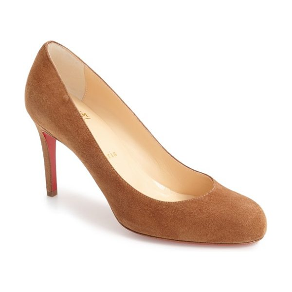 Christian Louboutin simple pump in brown suede - Sleek curves define a classic round-toe pump with a...
