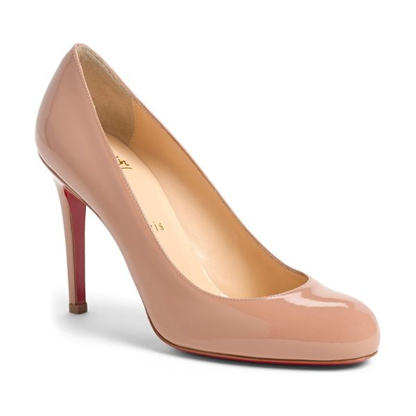 Christian Louboutin 'simple' single sole pump in nude patent - Delectable leather complements the sleek curves of a...