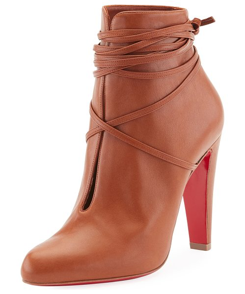 "Christian Louboutin S.I.T. Rain Wrap Red Sole Bootie in brown - Christian Louboutin bootie in shiny napa leather. 4""..."