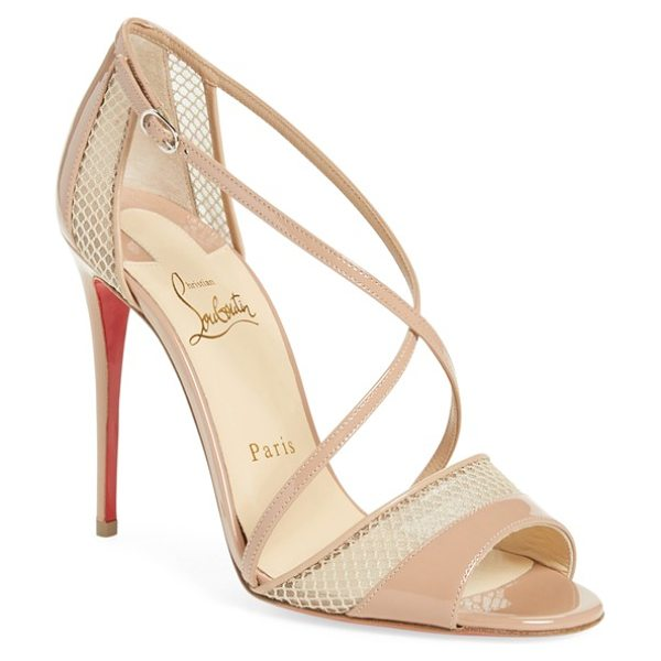 Christian Louboutin 'slikova' open toe sandal in nude patent/ leather - Slender calfskin leather straps interplay with peekaboo...