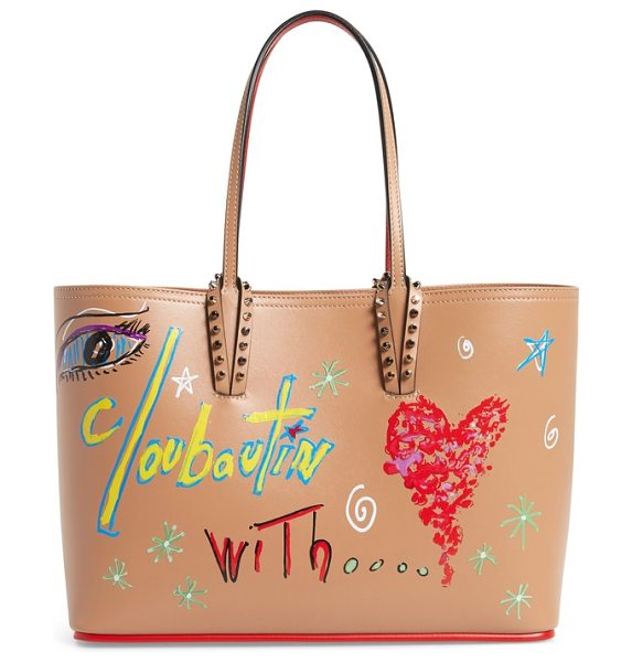 Christian Louboutin small cabata paris calfskin tote in nude/ nude - Tagged with a hand-drawn graffiti print created by...