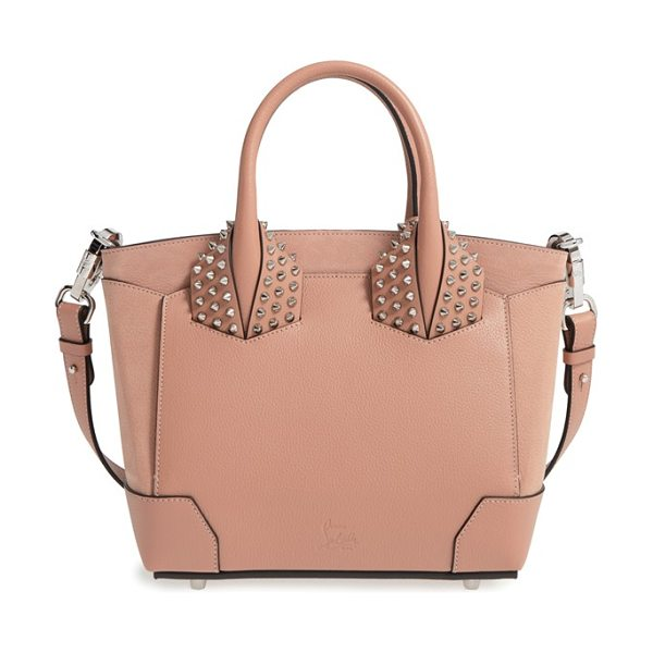 Christian Louboutin Small eloise studded calfskin satchel in nude - Polished cone studs stand out along the crossbody strap...
