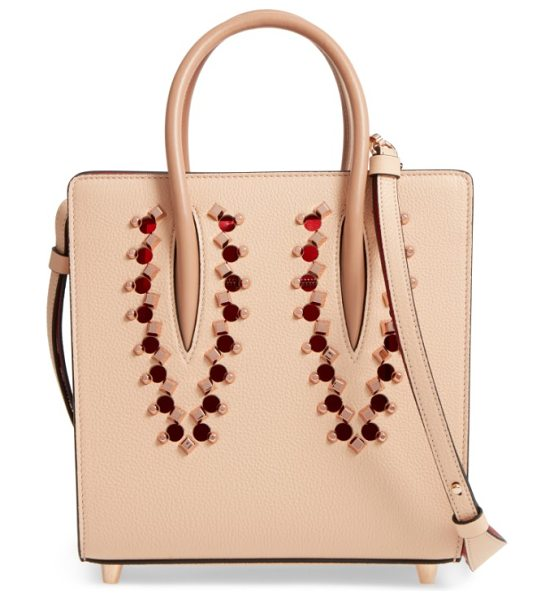 Christian Louboutin small paloma empire leather tote in naturel/ rose gold - Rose goldtone studs and circular cutouts add playful...