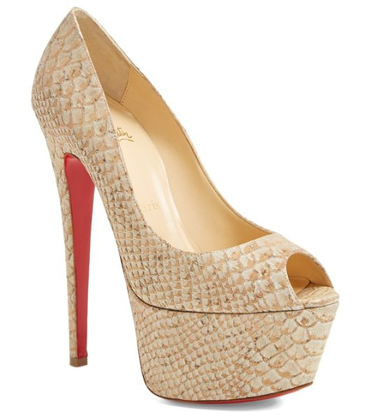 Christian Louboutin peep toe platform pump in beige - A flirty peep-toe pump pushes the envelope with a...