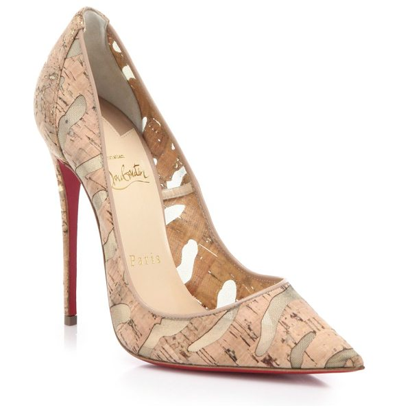 Christian Louboutin So kate cork & mesh pumps in beige - Mesh-backed cork shapes signature point-toe...