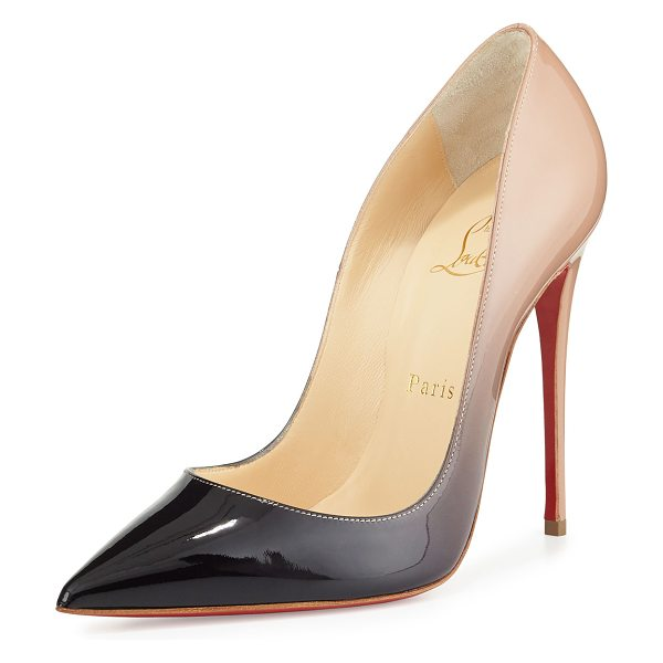 "Christian Louboutin So Kate Degrade Red Sole Pump in black/nude - Christian Louboutin pump in degrade patent leather. 4.8""..."