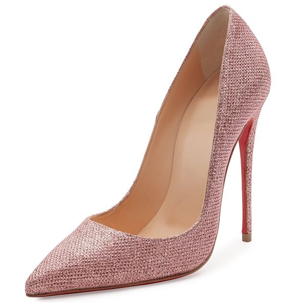 """Christian Louboutin So Kate Glitter 120mm Red Sole Pump in poudre - Christian Louboutin glitter fabric pump. 4.8"""" covered..."""