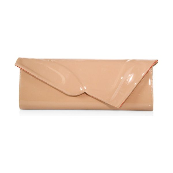 CHRISTIAN LOUBOUTIN so kate patent leather baguette clutch in nude - From the Saks IT LIST. HIGH GLOSS. Edgy meets glam in...