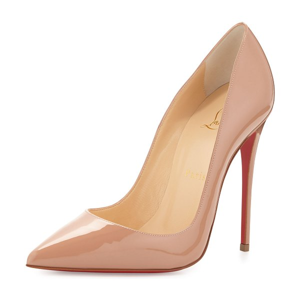 Christian Louboutin So Kate Patent Pointed-Toe Red Sole Pump in nude