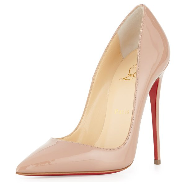 "Christian Louboutin So Kate Patent 120mm Red Sole Pump in nude - Christian Louboutin patent leather pump. 4.8"" covered..."