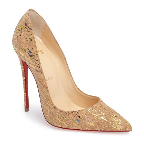 CHRISTIAN LOUBOUTIN 'so kate' pointy toe pump in beige multi - A contrasting heel lends a little extra oomph to a...