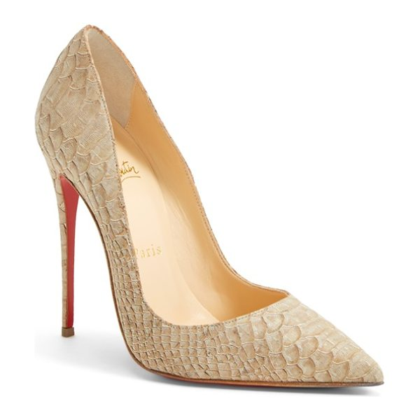 Christian Louboutin so kate pointy toe pump in beige. - An iconic pointy-toe pump pushes the envelope with a...