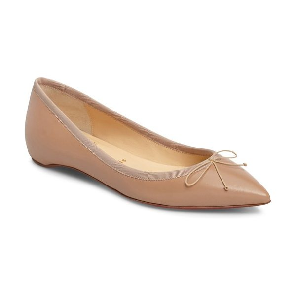 Christian Louboutin solasofia pointy toe flat in nude leather - A hidden wedge adds just-right height to this impeccable...