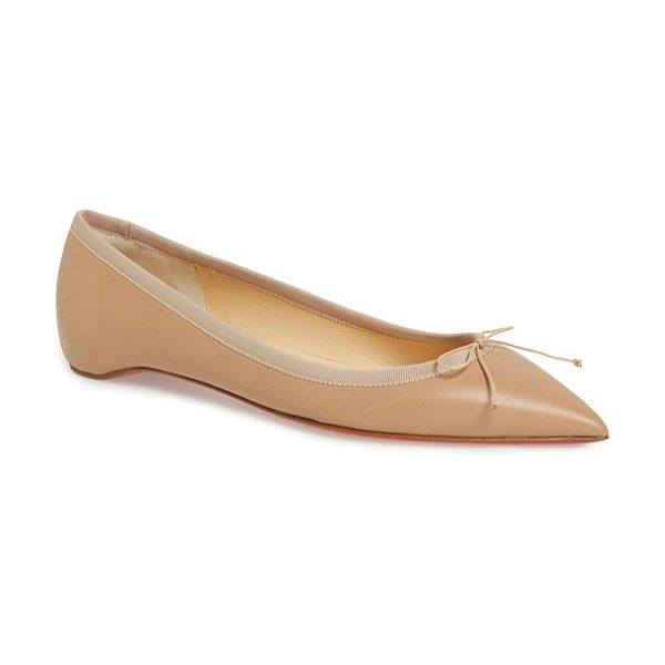 Christian Louboutin 'solasofia' pointy toe flat in nude nappa leather - Grosgrain trim and a dainty bow detail bring understated...