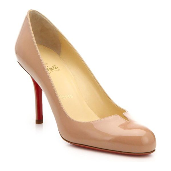 Christian Louboutin sophia regina 85 notched patent leather pumps in nude - These notched patent leather pumps are a perennially...