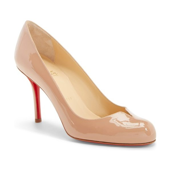 Christian Louboutin 'sophia regina' notched round toe pump in nude patent - A slightly flared, notched topline punctuates the...