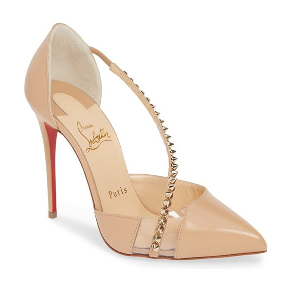 Christian Louboutin spike cross strap pump in beige