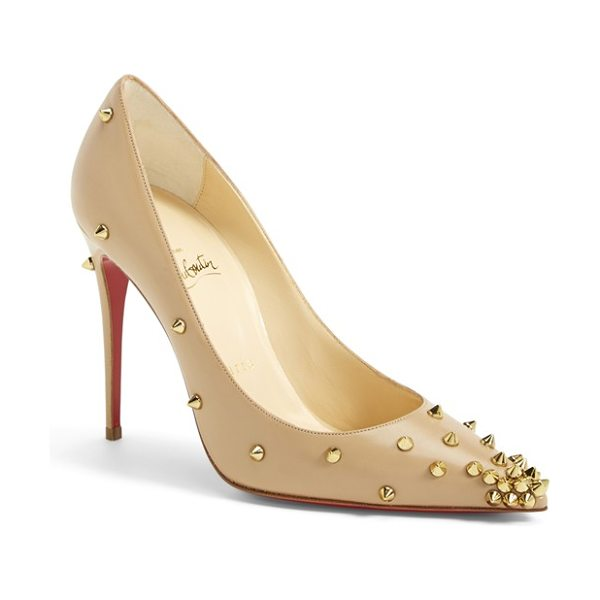 Christian Louboutin spike pointy toe pump in nude/ gold - Full of unstoppable attitude, Christian Louboutin's...